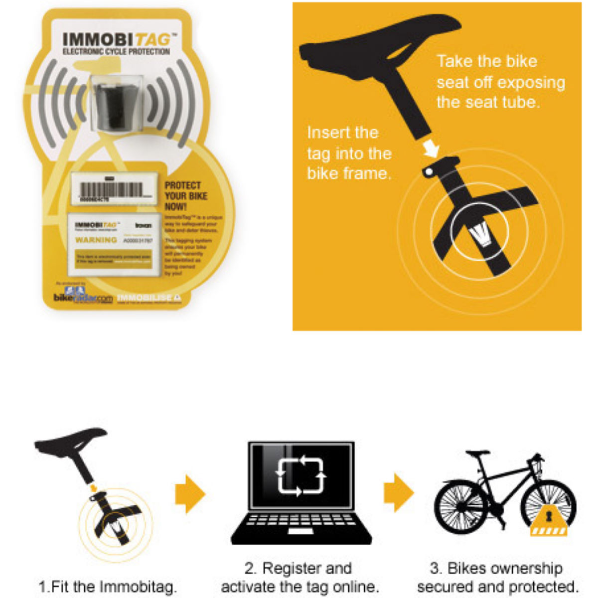 Immobilise.com ImmobiTag Electronic Cycle Protection Kit