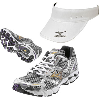Mizuno Ladies Wave Rider 13 Shoes with Free Visor