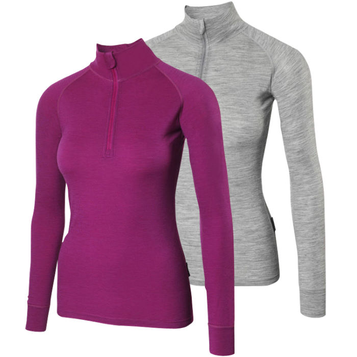 Ladies Merino L/S Zip Neck Baselayer M_190