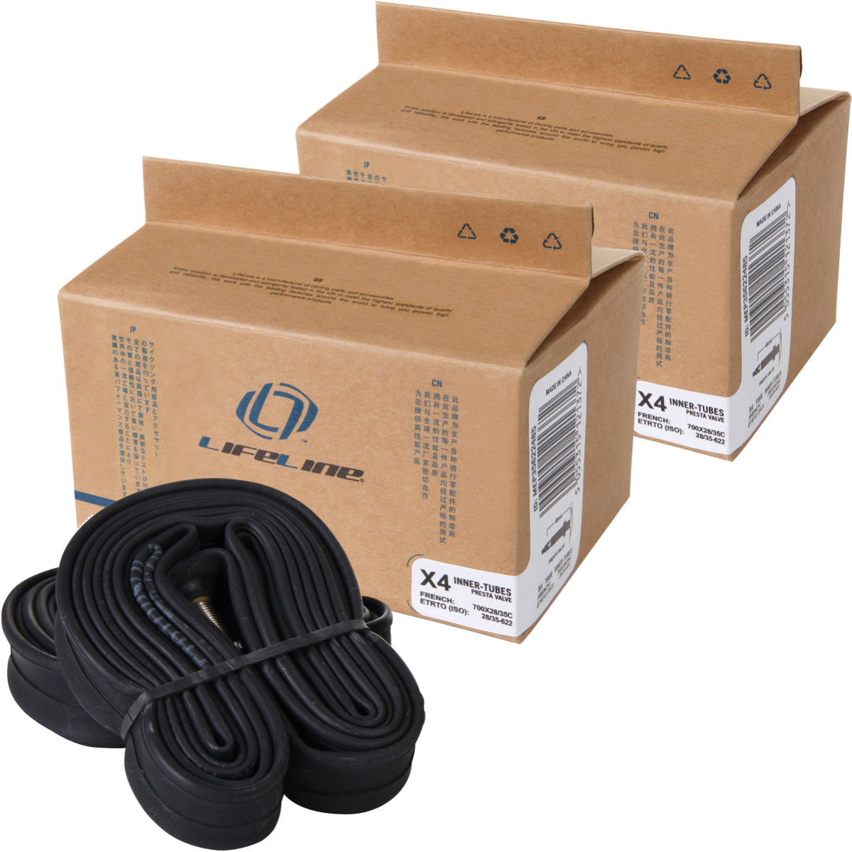 LifeLine Essential Touring Narrow Inner Tubes - 8 Pack